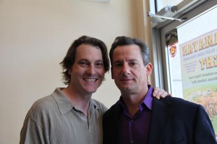 Photo of Geoffrey Pomeroy and Joe Forbrich on set